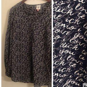 CAbi love print   Amo blouse size medium